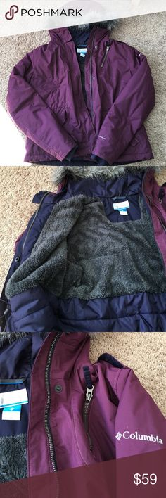 Columbia coat/jacket 💝 Super lite in weight and warm💝.  Detachable faux fur lining on the hoodie.  Adjustable waist pull strings inside of the jacket.  Soft and warm inside and weather proof outside.  My daughter only wore once to try it on.  In excellent condition!!! It'll work for L as well.  Eggplant/wine/purple color very beautiful!! Pix 1 and 4 are representing it's color most closely😊Please enjoy 💖 Columbia Jackets & Coats