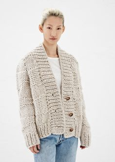 (via Totokaelo - Maison Martin Margiela Oatmeal Chunky Hand-Knit Cardigan) Knitwear Fashion, Knit Fashion, Cool Sweaters, Sweaters For Women, Chunky Knit Cardigan, October Fashion, Knit Picks, Cardigan Pattern, Knit Jacket