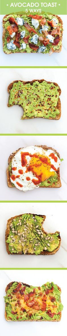 Toast with avocado is tasty but throwing on a few other ingredients can make it a bit more fun and exciting. Pin and save Avocado Toast: 5 Ways for those mornings you want to mix things up!