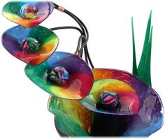 ~~ 5-bowl Rainbow fountain by Tom Bloyd ~~ these blown glass fountains are gorgeous! ~~