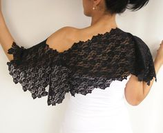 Black lace bolero shoulder wrap handmade by mammamiaeme on Etsy, $33.00