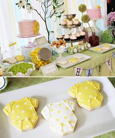 Spring Baby Shower Food Table and Yellow & White Onesie Cookies from chiccheapnursery.com
