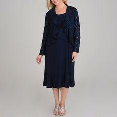 R & M Richards Plus Size Sequin Lace 2-piece Navy Jacket Dress