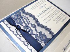 LORETTA Navy Lace Wedding Invitations with Paisley Pocketfold