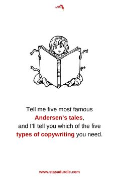 Tell me five most famous Andersen's tales, and I'll tell you which of the five #typesofcopywriting you need. #copywriting #marketing #digitalmarketing #compellingwriting