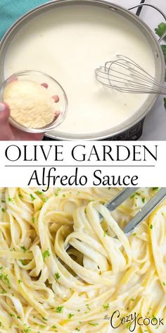 Make Olive Garden's Alfredo Sauce Recipe at home in just 20 minutes! Pair it with Fettuccine for an easy dinner idea the whole family will love! dinner on a budget Olive Garden's Alfredo Sauce Pasta Carbonara Receta, Pasta Alfredo Receta, Molho Alfredo, Sauce Alfredo, Fettuccine Pasta, Gluten Free Alfredo Sauce, Olive Garden Fettuccine Alfredo Recipe Copycat, Easy Alfredo Sauce Recipe Without Heavy Cream, Alfredo Sauce Recipe With Flour