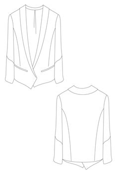 Sula Jacket - over sized blazer flatb drawing by Ralph Pink