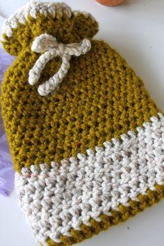 Crochet Hot Water Bottle Cozy or Gift Bag