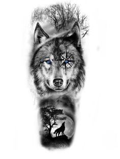 Half Sleeve Tattoos Wolf, Half Sleeve Tattoos Drawings, Realistic Tattoo Sleeve, Animal Sleeve Tattoo, Wolf Tattoos Men, Native Tattoos, Tattoo Sleeve Designs, Arm Tattoos For Guys, Animal Tattoos