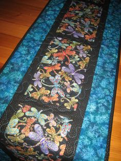 Dragonfly Table Runner Turquoise Purple Green Gold by TahoeQuilts