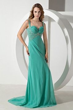 Green Chiffon Straps Party Gown - Order Link: http://www.theweddingdresses.com/green-chiffon-straps-party-gown-twdn1999.html - Embellishments: Beading , Crystal , Ruched , Sequin; Length: Sweep/Brush Train; Fabric: Chiffon; Waist: Empire - Price: 145.92USD
