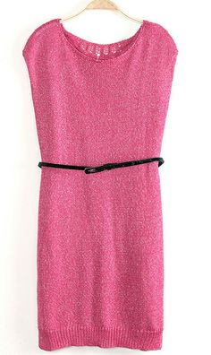 Back hollow out long sleeveless sweater rose