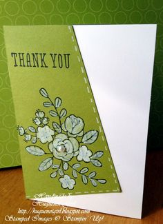 Stampin' Up! ... handmade card from Huguenot Girl ... white and olive  with a bit of black ... So Very Grateful posey stamped in black and colored with white chalk pen ... off-kilter main panel with faux stitching in white ... pearls ... great card!