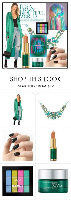 """color"" by oliviaoistrach ❤ liked on Polyvore featuring Lovers + Friends, Ayala Bar, Incoco, Balmain, NYX and RéVive"
