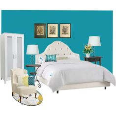 Elegant Teal Bedroom... Like The Small Touches Of Yellow