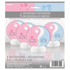 """These cute mini honeycomb decorations are great to add a splash of colour to your table especially if you are thinking of a restaurant setting for your gender reveal party or baby shower. There are four honeycomb decorations per pack, each featuring a question mark with 'Boy or Girl' written across the middle. The colours featured in this range are lovely and bright with blues and pinks. Each decoration stands 15cm (6"""") high."""