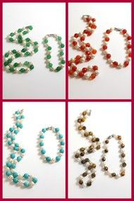 Necklace & Bracelet Semi precious stones & Freshwater Pearls SET Available in 4 colors