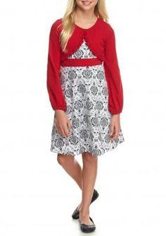 Bonnie Jean BlackWhite Damask Print Cardigan Dress Girls 7-16