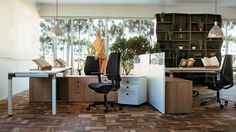 Office & Workspace:Enjoyable Office Room Design By Henrique Steyer Without Feel Boring With Chrome Pendant Lamp And Black Swivel Arm Chairs And White Work Desk Table And Wood Floor Cabinet And White Floding Cabinet On Brown Wood Ceramic Tiles Floor Virtuosity Henrique Steyer: Fantastic Contemporary Workspace designs