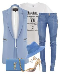 """""""Baby is blue"""" by fashionkill21 ❤ liked on Polyvore featuring Christian Louboutin, Balmain, River Island, Maison Michel, Yves Saint Laurent, Allurez, women's clothing, women, female and woman"""