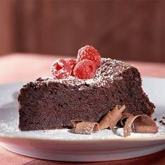 This incredible chocolate cake tastes so indulgent, it's hard to believe it weighs in at just over 200 calories and 6 grams of fat per serving.