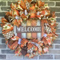 Fall Welcome Wreath, Fall Wreath, Deco Mesh Wreath, Pumpkin Wreath for Fall