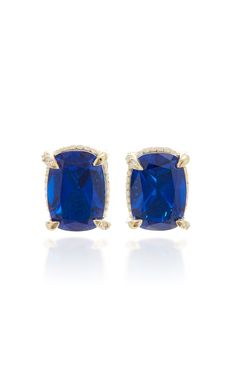 Shop Gold Vermeil, Sapphire And Diamond Earrings. Anabela Chan's stud earrings are rendered in lustrous yellow gold vermeil to complement its significantly sized cushion-cut blue sapphire. Sapphire And Diamond Earrings, Blue Sapphire, Unique Earrings, Women's Earrings, Ear Piercings, 18k Gold, Women Accessories, Fine Jewelry, Gemstones