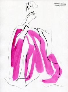 Miyuki Ohashi fashion illustration, Carolyn Murphy for Oscar de la Renta Fall 2015 ad campaign Fashion Illustration Sketches, Fashion Sketches, Drawing Sketches, Illustration Art, Art Illustrations, Carolyn Murphy, Pose, Fashion Design Drawings, Fashion Portfolio