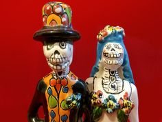 """Dia de los Muertos Wedding Cake Topper Bride and Groom Size: 7 3/4"""" x 4"""" x 3"""""""