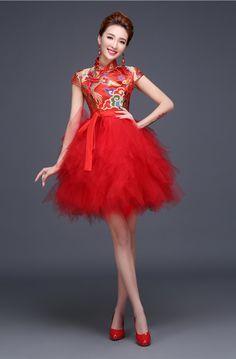 robe de mariage rouge courte rouge courte mariée rouge marier courte ...