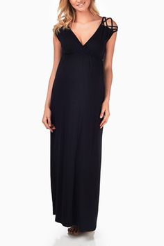 Black-Woven-Shoulder-Maternity/Nursing-Maxi-Dress