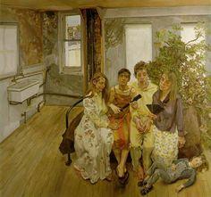 Lucian Freud, Gran Interior W11 (según Watteau), 1983. Óleo sobre lienzo, 186 × 198 cm, Colección particular