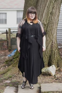 plus size goth outfit with black dress and flowy sheer cardigan