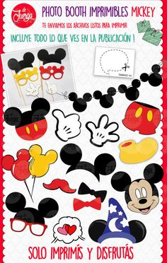 Printable Photo Booth Mickey Props INSTANT DOWNLOAD - Mickey Mouse Baby Shower, Mickey Mouse Birthday, Mickey Minnie Mouse, Mickey Mouse Photo Booth, Mickey Mouse Pictures, Mickey Clubhouse, Photobooth Props Printable, Mickey Party, Disney Scrapbook