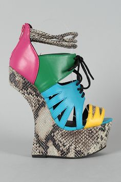 Privileged Kingston Colorblock Snake Heel Less Lace Up Curved Wedge - How does one get away with this?