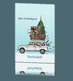 Trendy kerst verhuiskaart in kerstsfeer met renault vier #verhuiskaart #verhuiskaartje #kerstkaart