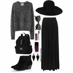 This outfit looks comfy and stylish Witch Fashion, Dark Fashion, Gothic Fashion, Fall Outfits, Cute Outfits, Fashion Outfits, Womens Fashion, Sporty Outfits, Skirt Fashion