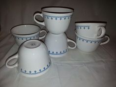 Corelle Livingware Snowflake Blue coffee cups lot of 6