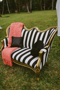 Swooned: The Rainbow After the Storm: A Vibrant Garden-Inspired Bridal Shower in Miami, Florida Funky Furniture, Furniture Makeover, Furniture Design, Salon Furniture, Garden Furniture, Painted Furniture, Furniture Ideas, Biedermeier Sofa, Gothic House