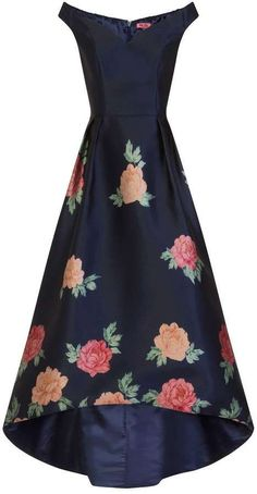 *Chi Chi London Navy Floral Print Dip Hem Skater Dress (afflink)