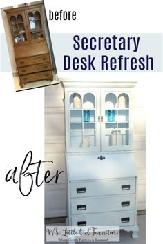 Work with what you have!  This was a beautifully crafted solid wood secretary desk that just needed a new look.  It wasn't hard at all to make it fresh and modern with paint.  Click to see the products used here. #paintedfurniture #painteddesk #secretarydesk