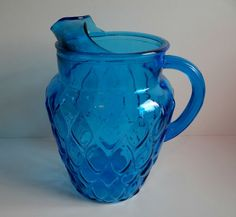 Vintage Turquoise Blue Anchor Hocking Pitcher in the Madrid Pattern by TimelessTreasuresbyM on Etsy