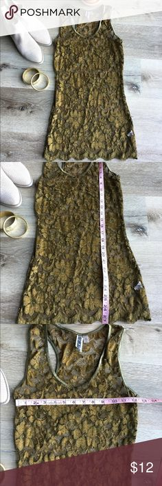 Lace long layering racerback tank Almost olive green, almost bronze metallic... whatever you call it, it's a gorgeous color sheer lace racerback top. In pretty good condition overall, but notice small hole in seam at bottom near interior tag. BKE Tops