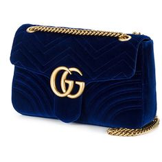 Gucci GG Marmont shoulder bag (4225 TND) ❤ liked on Polyvore featuring bags, handbags, shoulder bags, chain shoulder bag, gucci, shoulder hand bags, blue purse and gucci handbags