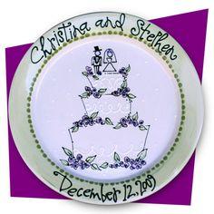 Whimsical Wedding Cake WEdding Platter Diy Wedding Gifts, Personalized Wedding Gifts, Diy Wedding Decorations, Bride Gifts, Wedding Plates, Wedding Art, Cake Wedding, Wedding Ideas, Painted Plates