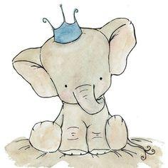 trafalgar's square Royal Blue Elephant Crown Print on So cute! Scrapbooking Image, Baby Elefant, Illustration Art, Illustrations, Elephant Illustration, Elephant Drawings, Elephant Artwork, Elephant Nursery Art, Nursery Artwork