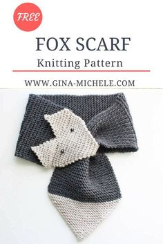 FREE Knitting Pattern for this FOX SCARF. Women & kids sizes Fox Scarf Knitting Pattern This fox scarf knitting pattern is a fun take on the fox stoles that were considered the height of glamour in the and 30 Baby Knitting Patterns, Knitting For Kids, Easy Knitting, Knitting Projects, Cowl Patterns, Knitting Tutorials, Knitting Ideas, Craft Projects, Fox Scarf