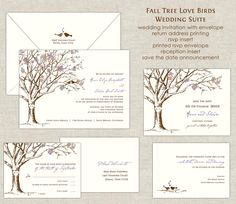 Fall Tree Love Birds Wedding Invitations Wedding Invites Tree Invitation Autumn Eggplant Purple Burnt Orange Leaves Leaf Linen Blooms Trunk by paperimpressions on Etsy https://www.etsy.com/listing/103914794/fall-tree-love-birds-wedding-invitations