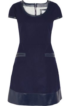 Richard Nicoll's modern approach to tailoring has made his London-based label a hit with those in the know, and this leather-trimmed navy dress is a striking example of the aesthetic. Fitted at the waist with a flared skirt, this wool-felt piece is sure to shape a flattering silhouette. Keep your look contemporary with tonal ankle boots and a compact carryall.