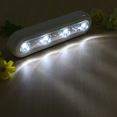 4 LEDs Touch Tap Night Light Battery Powered Cabinet Wardrobe Swivel